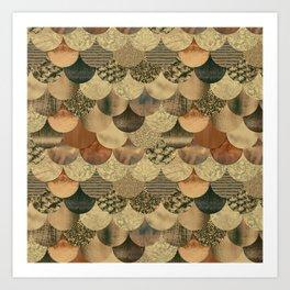 Brown Copper Glamour Mermaid Scale Pattern Art Print