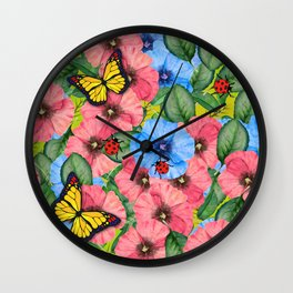 Floral scene Wall Clock