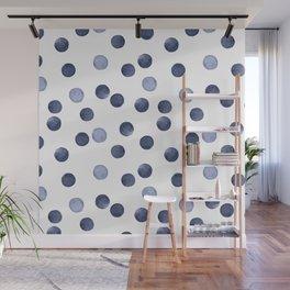 Watercolor . Dark blue polka dot . Wall Mural