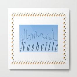 Nashville Skyline Blue Metal Print