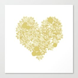 gold clover in romantic heart shape on white Canvas Print