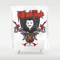 tesla Shower Curtains featuring Nikola Tesla by Spectacle Photo