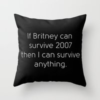 britney Throw Pillows featuring Britney Spears by Jarrah James