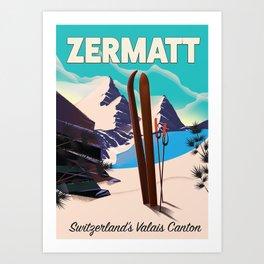 Zermatt Ski Switzerland's Valais canton Art Print