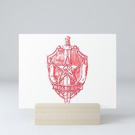 KGB Badge Outline Drawing Mini Art Print