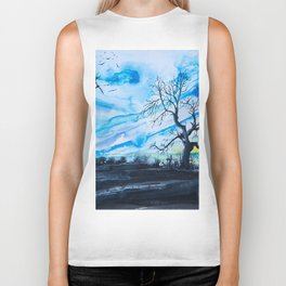 Birds above the hill Biker Tank