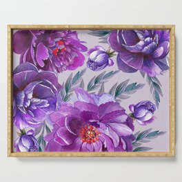 Violet and Purple Flowers Serving Tray