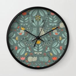 Swedish Folk Cats Wall Clock