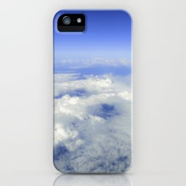 Sky Above the Clouds, Cloudscape background, Blue Sky and Fluffy Clouds iPhone Case