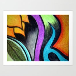 Oil Pastels and Conte Crayon Art Print