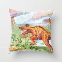 t rex Throw Pillows featuring T-Rex by Catherine Holcombe