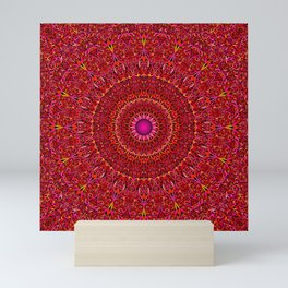 Red Jungle Mandala Mini Art Print