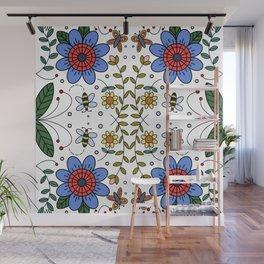 Folk Art Colorful Flowers  Wall Mural