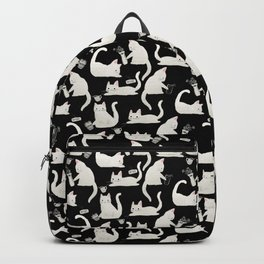 Bad Cats Knocking Things Over, Black & White Backpack