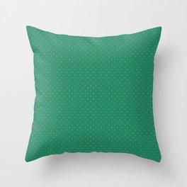 Small Orange on Elf Green Polka Dots Throw Pillow