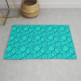 Black And Turquoise Cheetah A La Cow Rug