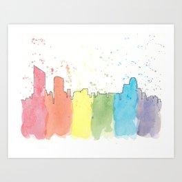 Grand Rapids Michigan Skyline - Pride Flag Rainbow - Watercolor Painting by Mackenna Morse Art Print