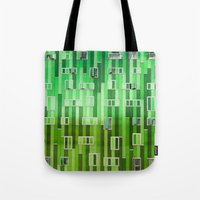 green pattern Tote Bags featuring Green Pattern by Maria Eugenia Espino