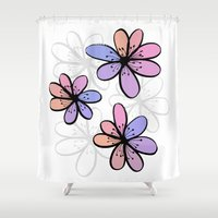 cherry blossoms Shower Curtains featuring Cherry Blossoms by Kara Peters