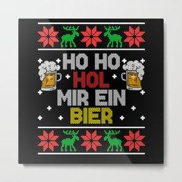 Ho Get Me A Beer Christmas Santa Claus Metal Print