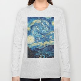 Vincent Van Gogh Starry Night Painting blue and yellow sky Long Sleeve T-shirt