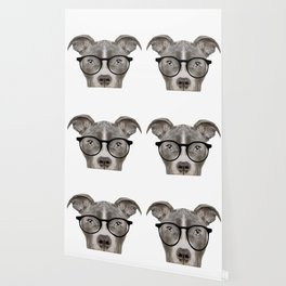 Pit bull with glasses Dog illustration original painting print Wallpaper