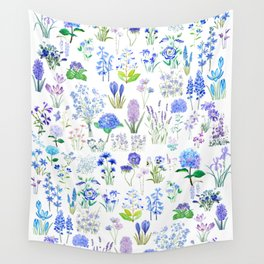 blue and purple flower collection 2020 watercolor  Wall Tapestry