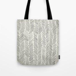 Herringbone Black on Cream Tote Bag