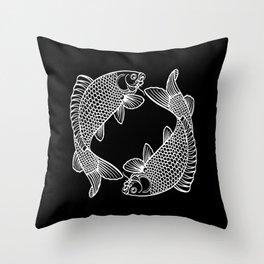 Black White Koi Minimalist Throw Pillow