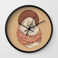 carl sagan Wall Clocks featuring Saint Carl by Grace Chomick