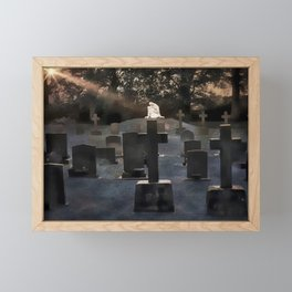 Gravestones and statue Framed Mini Art Print