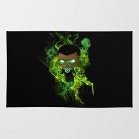 green lantern Area & Throw Rugs featuring Chibi Green Lantern by artwaste