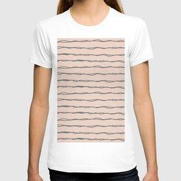 Minimalist Stripes Navy Gray on Blush Pink T-shirt