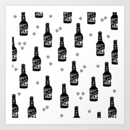 There's always hope beer bottle hop love monochrome Art Print