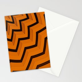 Umbrella - Abstract Orange Brown Line Pattern Stationery Cards