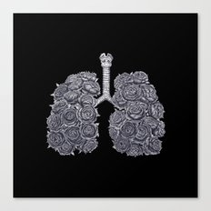 Lungs with peonies on black Canvas Print