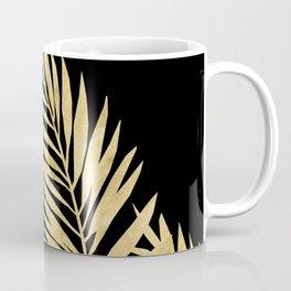 Palm Leaves Golden On Black Coffee Mug