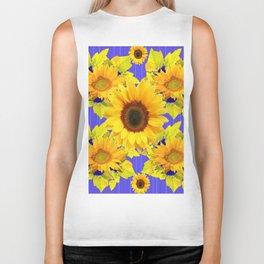 Golden Sunflower Pattern Floral Purple Shades Biker Tank