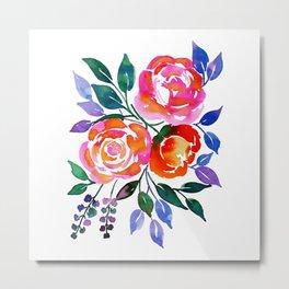 Pink Orange Roses Metal Print
