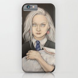 Wizarding World. A girl with a white rabbit iPhone Case