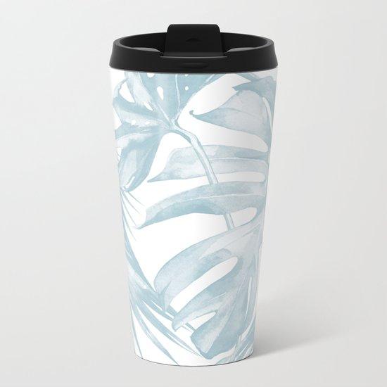 Blue Tropical Palm Leaves Print Metal Travel Mug
