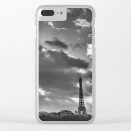 Eiffel tower under the clouds Clear iPhone Case