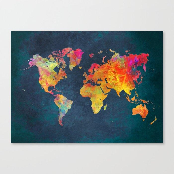World Map Blue World Map Canvas Print By Jbjart Society6
