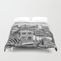 seoul Duvet Covers featuring Seoul Rooftops by Jennifer Stinson