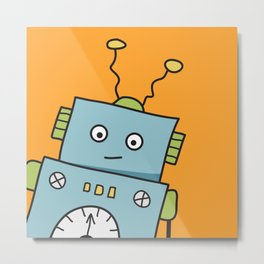 Friendly Blue Robot Metal Print