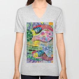 Hippy Fish in Rainbow Glow Unisex V-Neck