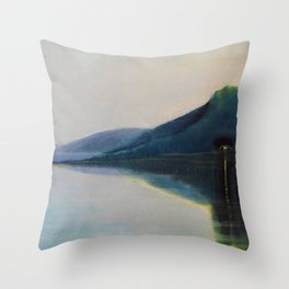 Serenity, Peace, & Quiet of the Early Morning Island landscape by Mikalojus Konstantinas Ciurlionis Throw Pillow