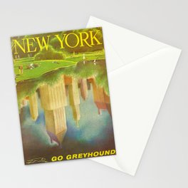 1952 Go Greyhound New York City Central Park Poster Stationery Cards