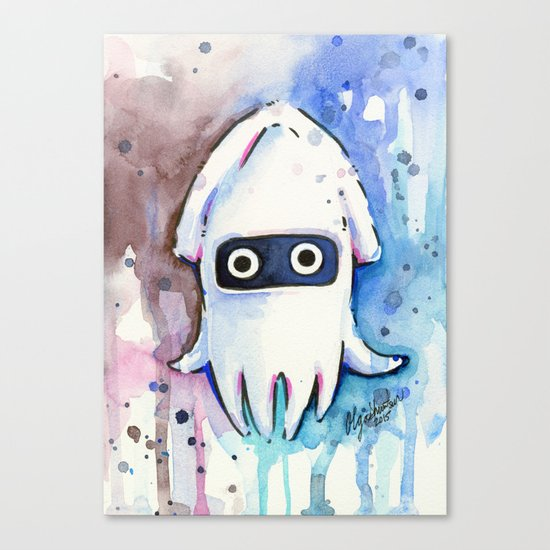 Blooper Watercolor Mario Art Canvas Print