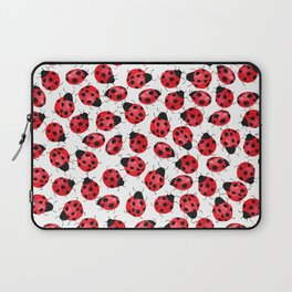 Watercolor Lady Bugs - Red Black Watercolor Insects Laptop Sleeve